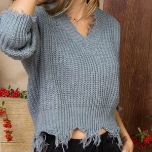 Gray Distressed V-Neck Slouchy Sweater